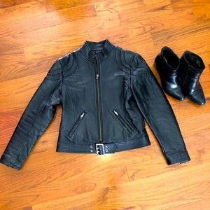 Sara New York Zip Up Fitted Leather Bomber Jacket